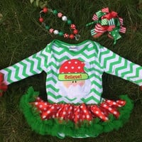 PERSONALIZED Christmas Dress, Christmas Onesuit , Baby Christmas Dress, Red and Green Dress, Toddler Santa Dress, Christmas Dress, Chevron