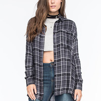 Full Tilt Womens Extreme Fit Flannel Shirt Grey Combo  In Sizes