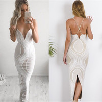 Slim Spaghetti Strap Summer Women's Fashion Sexy Backless One Piece Dress [10611573903]
