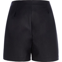 River Island Womens Black leather-look high waisted shorts