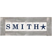 Personalized Classic Block Wall Decor | Grey Wash Frame