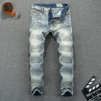 Men's Light StoneWashed Ripped Jeans
