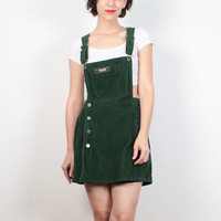 Vintage Soft Grunge Overalls Romper 1990s Dark Green Corduroy Skort Playsuit Jumper 90s Soft Grunge Dungarees Mini Dress Shorts S M Medium