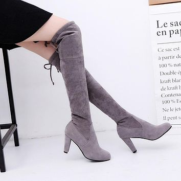 Faux Suede Slim Boots Sexy over the knee high women snow boots women's fashion winter thigh high boots shoes woman