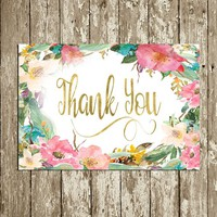 Printable Thank You card Digital Floral Thank you note Wedding Thank you cards Watercolor Baby Shower Thank you Card Pink and Gold DOWNLOAD