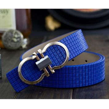 Mens Luxury Printing Leather Smooth Pin Buckle Casual Fashion Waist Strap Belt