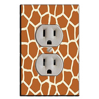 Giraffe Print Wall Plug Cover Decal Outlet Wall Plate LS15WP