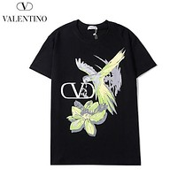 Valentino New fashion letter floral print couple top t-shirt Black
