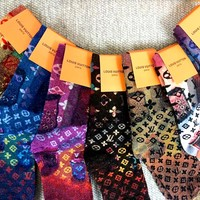 LV new women's jacquard pattern socks