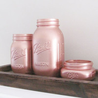 Rose Gold Painted Jars, Mason Jars, Party Decor, Shabby Chic, Set of 3 Jars, Rustic Decor, Party Centerpiece, Country Decor, Baby Shower