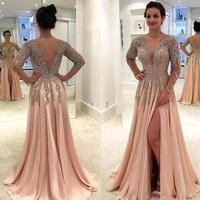 Champagne V Back Prom Dress Long Dress Evening Dress