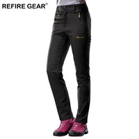 ReFire Gear Spring Thin Soft Shell Hiking Pants Women Quick Dry Breathable Waterproof Outdoor Trousers Female Elastic Slim Pants