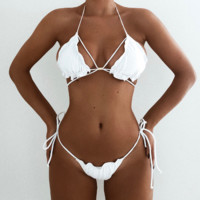 Summer New Fashion Solid Color Straps Two Piece Bikini Swimsuit White