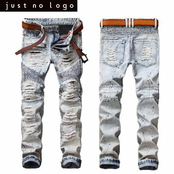Mens Ripped Biker Bleached Blue Jeans Skinny Distressed Slim Fit Denim Pants Straight Casual Frayed Trouser for Men Party Club