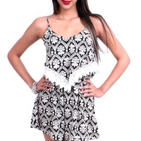 Bib Neckline Romper - Black/White at Beyond Trends : Women's Fashion Clothing & Junior Trendy Clothing & Accessories