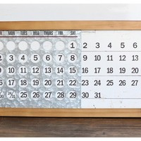 Vintage, Antique, Distressed, Rustic, Farmhouse, Office, Home Decor , Desk Calendar, Metal, Chippy, Perpetual Desk Calendar, Wood, Slide Calendar