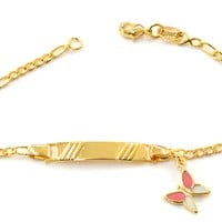 """1-0977-g5 Gold Overlay Kids 6"""" ID Bracelet with Butterfly Charm."""
