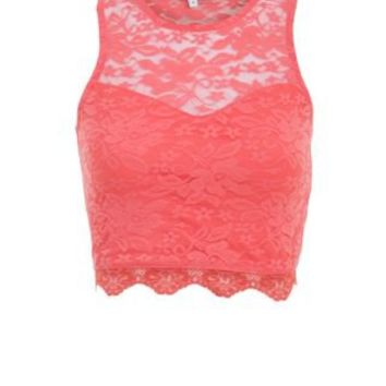 New Look Mobile   Coral Lace Sweetheart High Neck Crop Top