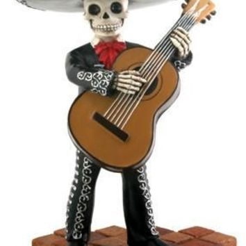 Mariachi Band Bassist Player in Black, Day of the Dead Statue 5.5H