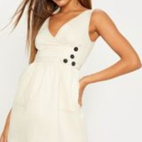 Cream V Neck Button Skater Dress