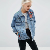 ASOS Denim Girlfriend Jacket In Illustrated Mid Wash With Badges