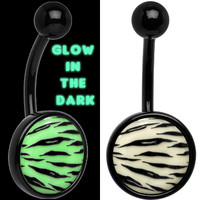 Glow in the Dark Titanium Tiger Print Belly Ring | Body Candy Body Jewelry