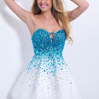 Blush Prom 9880 - Pacific/White Beaded Strapless Prom Dresses Online