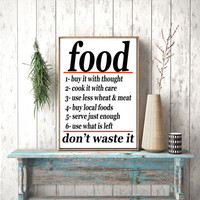 Instant download, Food Don't waste it Vintage Advertising Kitchen Print Decor Poster Cook It With Care Food Poster  US Food Administration