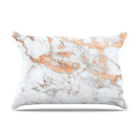 "KESS Original ""Rose Gold Flake"" White Pink Pillow Case"