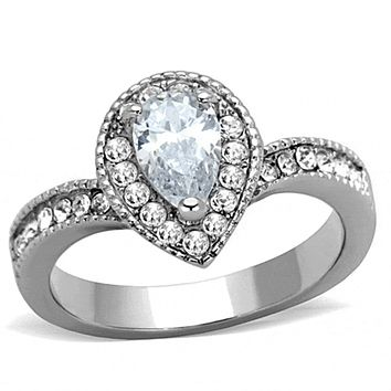 Melody of Love - Pear Shaped 1.33 CT. Equivalent Center Stone With Crystal Embellished Stainless Steel Band