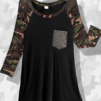 Camo + Sequins Top - Two Options