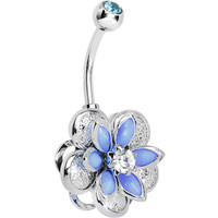 Blue Clear Gem Bursting Blossom Flower Belly Ring | Body Candy Body Jewelry