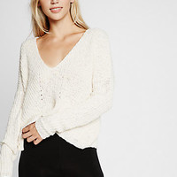 ivory textured knit v-neck split back sweater