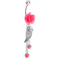 Pink Neon Rose Angel Wing Dangle Belly Ring   Body Candy Body Jewelry
