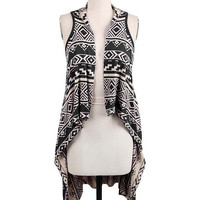 Expect The Unexpected Knit Vest - Black/Tan