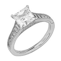 .925 Sterling Silver Rhodium Plated 2 CTW Equivalent Wedding Engagement Ring