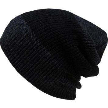 Hot ! New Fashion Knitting Wool Winter Autumn Hats For Men Patchwork Crochet Baggy Warm Male Beanie Skull Slouchy Mens Caps