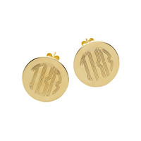 Monogrammed Gold Round Post Earrings