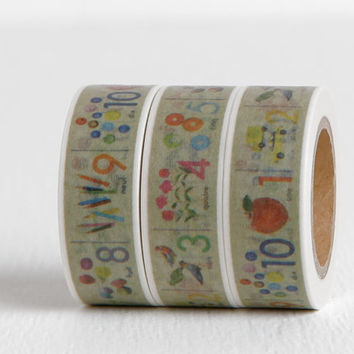 French Numbers Washi Tape, Illustrated Numbers Children's Scrapbooking, 15mm