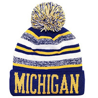 Michigan Thick Warm Cuffed Blending Color Beanie Winter Hat Cap with Pom and Stripes One Size Adult Gold/Blue
