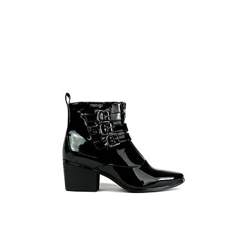 Women's Triple Buckle Zip Up Ankle Boot Black Patent