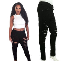 Fashion Sexy Women's Destroyed Distressed Denim Pants Ripped Jeans Skinny Pencil Trouser PL1 SM6