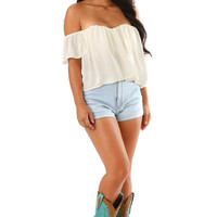 Match Made In Heaven Crop Top: Ivory