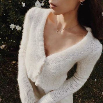 Long Sleeve Sweater V-neck Knit Slim Jacket [110331035673]