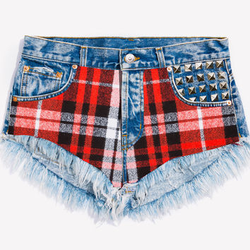 Jagger Flannel Studded Babe Shorts