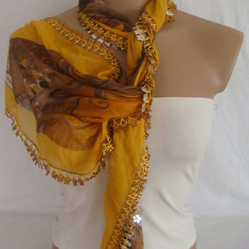 Traditional Turkish Yemeni Cotton Scarf With flower beads