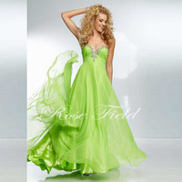 Beaded Sweetheart Bright-coloured Flowing Floor Length Neon Party Dresses Chiffon Prom Dress