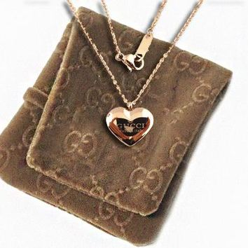 GUCCI Heart Type Necklace Long Chain Gold Lettering Neck Chain
