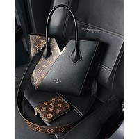 LV Hot Shoulder Bag Dark V Design Bag Black
