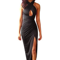 Multiway Slinky Maxi Dress In Black